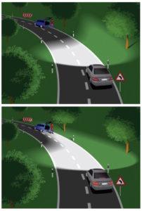 Foto © Mercedes-Benz Kurvenlicht (auch Abbiegelicht): Die Scheinwerfer des Fahrzeugs folgen dem Verlauf der Straße und sorgen für bessere Sicht bei nächtlicher Fahrt auf kurvenreicher Strecke