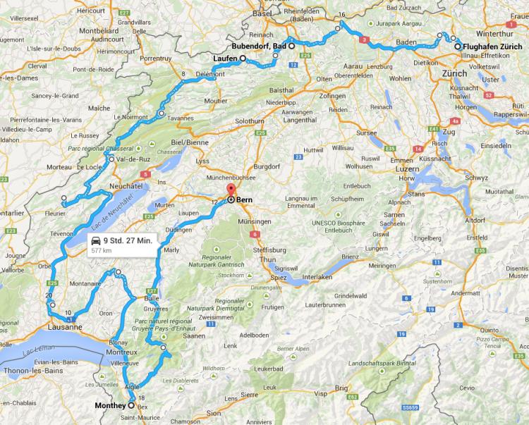 Die Route der BMW xDrive Challenge 2015