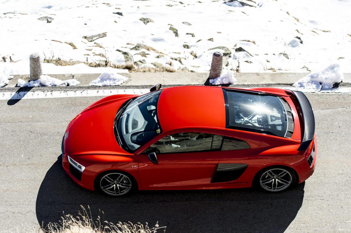 4x4Schweiz-Fahrbericht: Mit dem AUDI R8 V10 PLUS, dem Hochleistungs-Sportwagen in Andermatt, Oberalp, Gotthardpass.