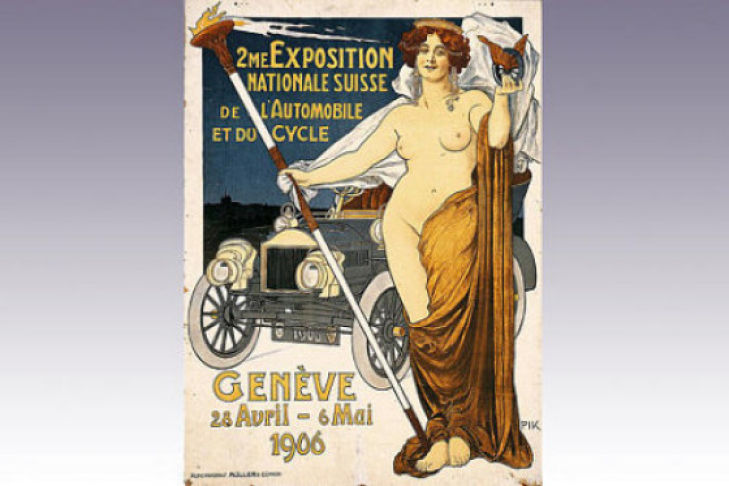 Das erste Plakat für den Genfer Autosalon von 1906