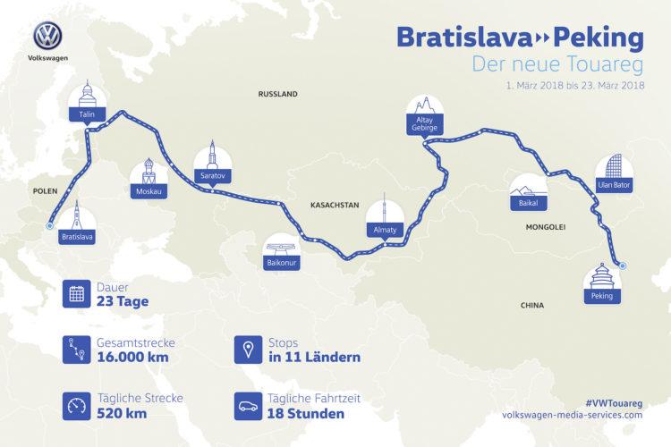 Die Route des Projekts Bratislava nach Beijing