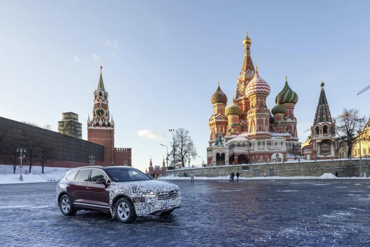 Die Crew im VW Touareg erreicht Moskau