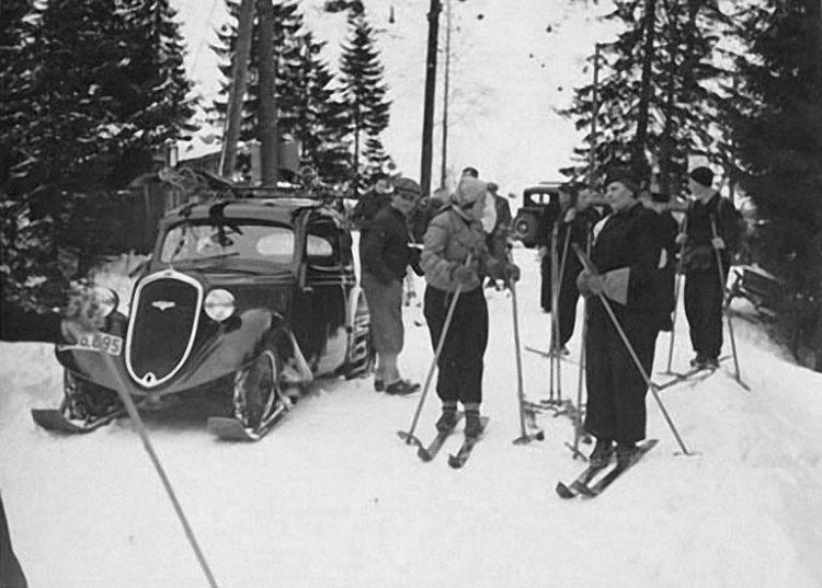 """""""Ich bin auch ein Skilift"""" - Škoda Popular Ski 1938"""